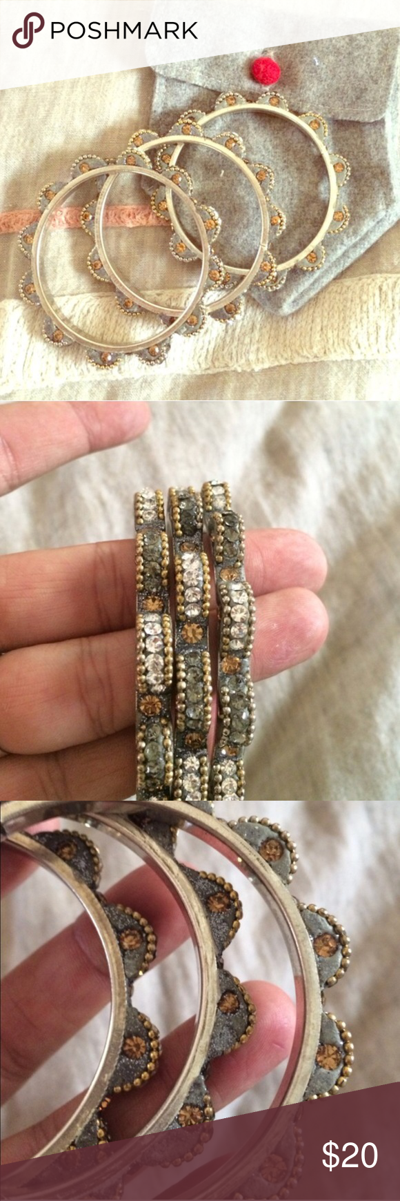Anthropologie diamond bangles Lovely and in pristine condition Anthropologie Jewelry Bracelets