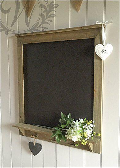 Shabby Chic Vintage Chalkboard With Hooks Blackboard Notice Board