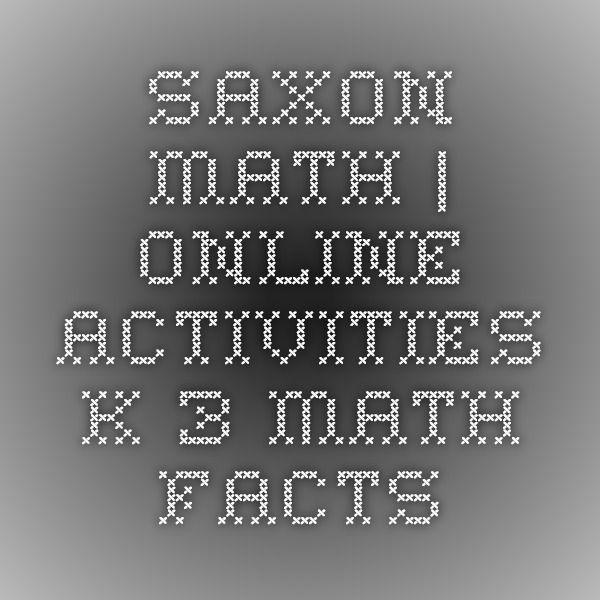 Saxon Math Online Activities K 3 Math Facts Summer Retention