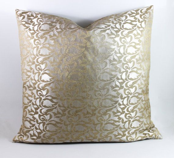 Gold and Silver Silk throw Pillow Cover Silk Pillow by Fabricasia