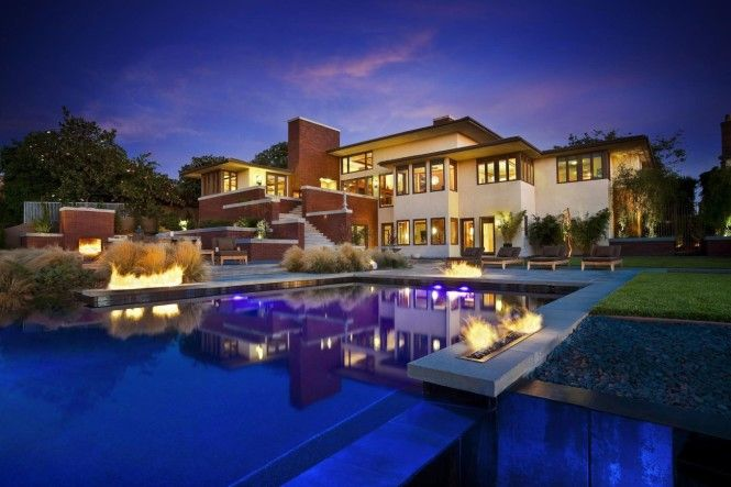 Marvelous Big Luxury House Design With Natural Bricks Exterior In California .  Luxurious Super Sized House In California With Pools At Front