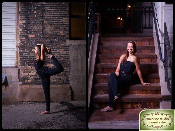 creative urban senior pictures at nighttime | yoga pose | milwaukee's third ward | Brookfield Central High School | Reminisce Studio by Miranda & Adam