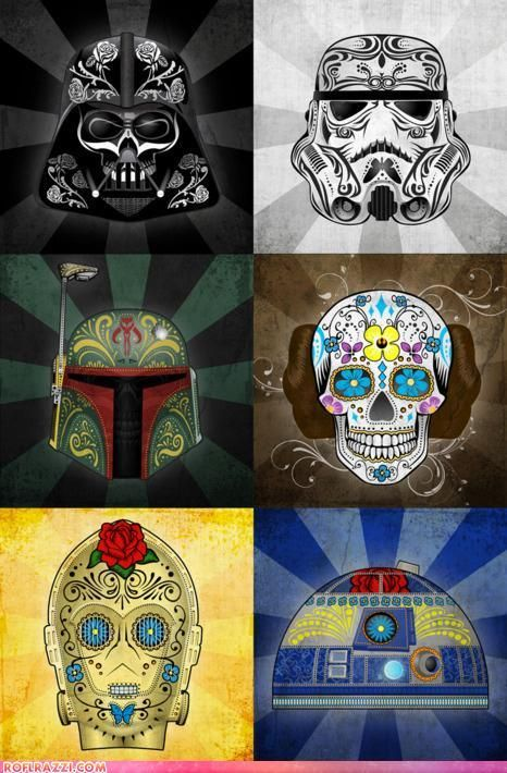 95bc24d5 Star Wars - Sugar Skulls Darth Vader, Stormtrooper, Boba Fett, Princess  Leia, C3PO, R2D2