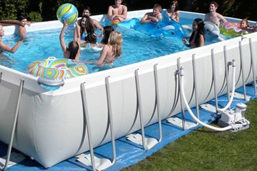 Rectangle Above Ground Pool intex rectangular above ground pool with ground pad and filter