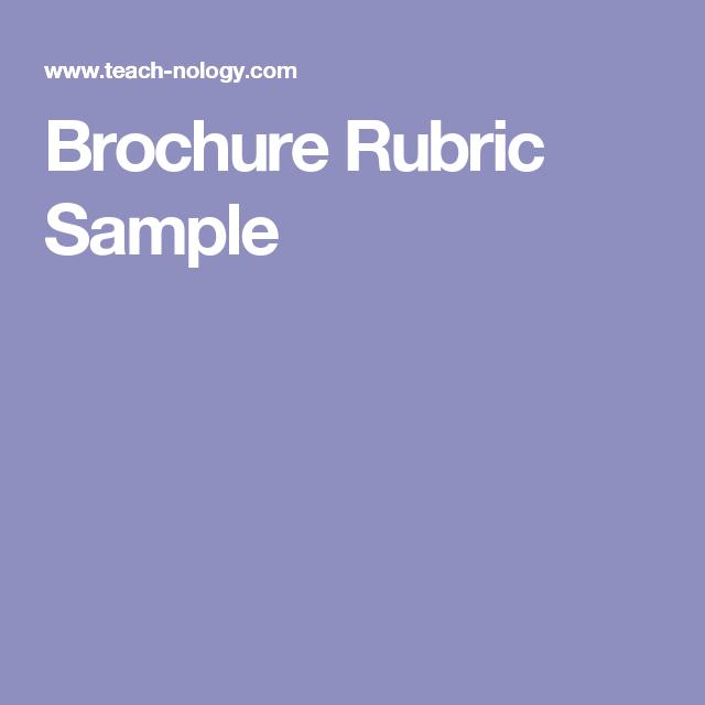Brochure Rubric Sample Rubrics Pinterest Rubrics