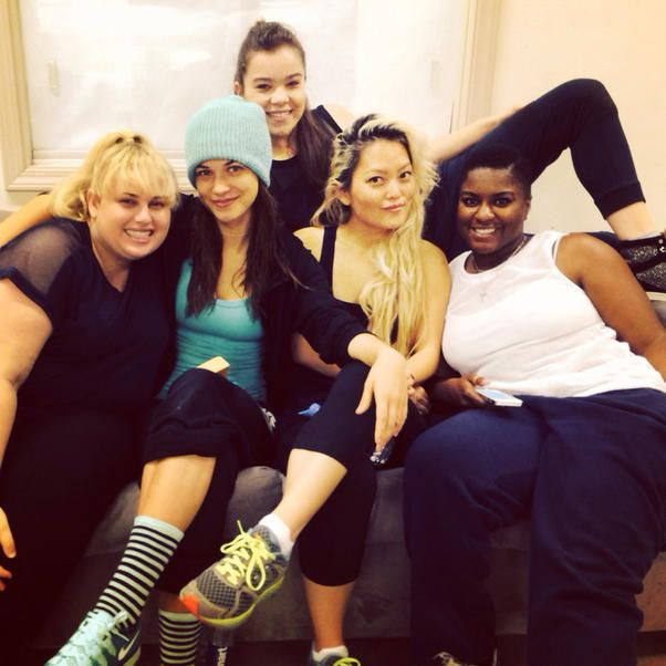 """Alexis Knapp - More Bella love. Anna & Brittany couldn't make it in this one b/c they were busy making out. #pp2 What's the best part about the return of """"Pitch Perfect""""? For Alexis Knapp, it has to be spending some quality time with these gals. She shared this behind-the-scenes shot from the set of """"Pitch Perfect 2,"""" along with co-stars Rebel Wilson, Hailee Steinfeld, Hana Mae Lee, and Ester Dean. Looks like fun, ladies!"""