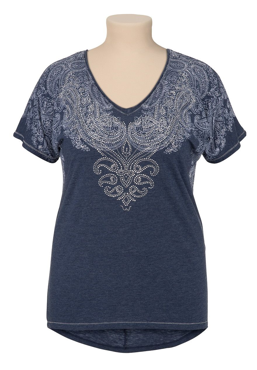 Maurices Premium Scroll Print Embellished Tee - maurices.com