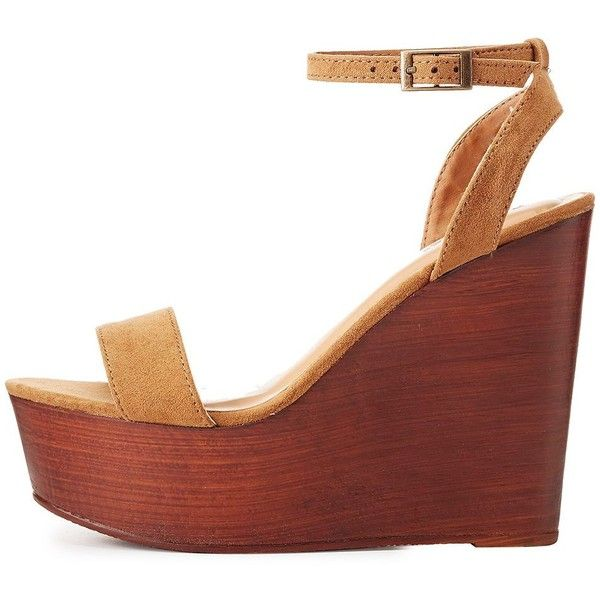 Bamboo Two-Piece Wooden Wedge Sandals ($25) ❤ liked on Polyvore featuring  shoes