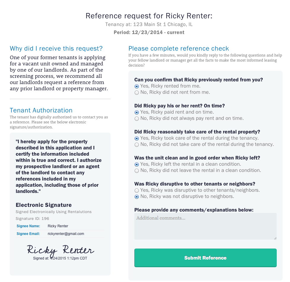 Renter Reference Authorization Form  Rent House