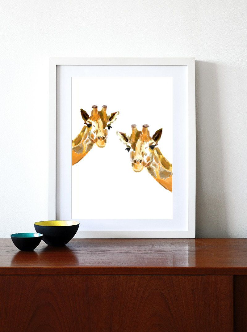 Giraffe Art Print Giraffe Watercolor Painting Giraffe