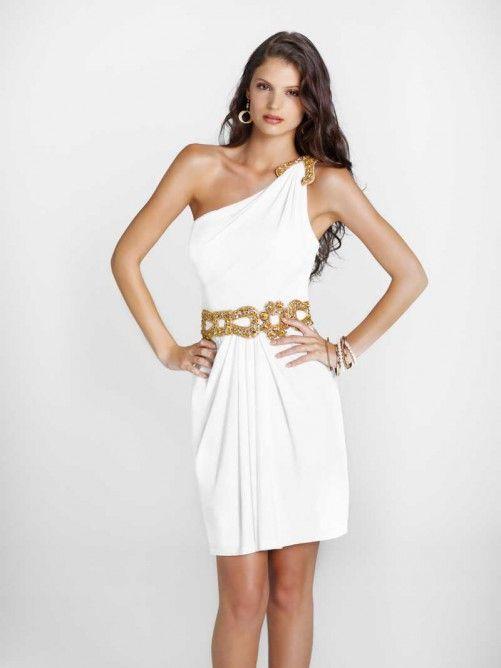 Sexy Sleeveless Knee-Length One Shoulder Beading Chiffon Prom Dress
