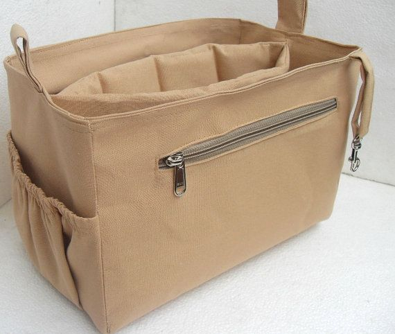 Purse organizer Fits large Longchamp Le Pliage with Laptop Case- Bag  organizer insert in Sand 99fb79b8655f9