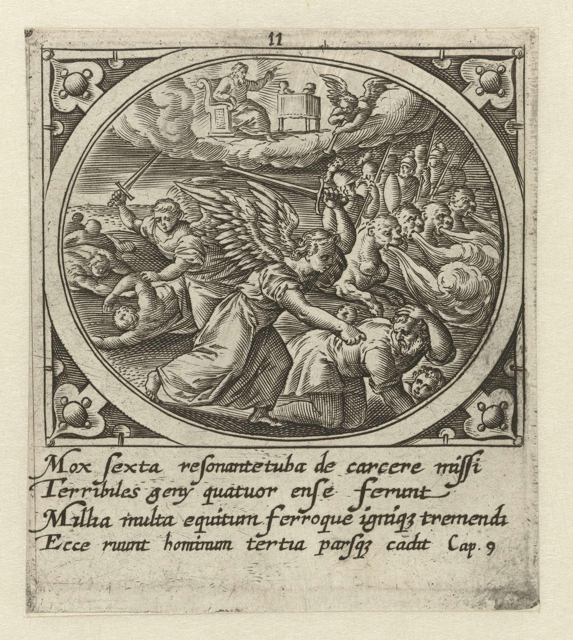 Gerard de Jode | Zesde engel blaast op bazuin, Gerard de Jode, 1585 | De zesde engel blaast op de bazuin. Naast de engel zit God de Vader op zijn troon en staat het gouden altaar met de vier horens waar een stem uitkomt die opdraagt dat de vier engelen die gevangen zitten moeten worden bevrijd. De engelen en de ruiters op paarden met leeuwenkoppen roeien een derde van de mensheid uit. In de marge een vierregelig onderschrift in het Latijn. Elfde prent uit een serie van vierentwintig met de…