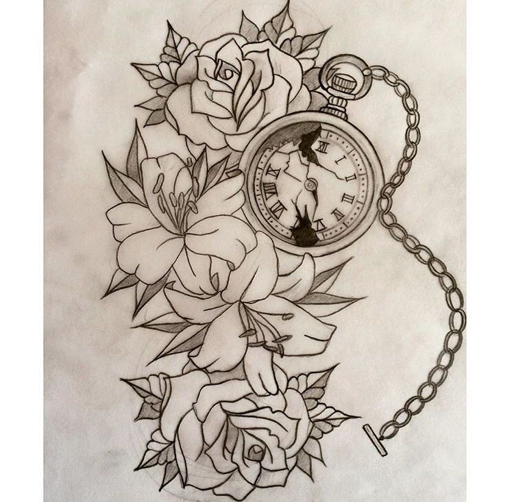 Rose Clock Tattoo Designs Drawing: Roses, Lilies & Pocket Watch Sketch