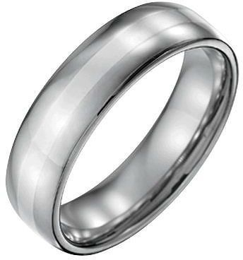 Qvc Forza Men S 6mm Steel W Sterling Silver Inlaypolished Ring