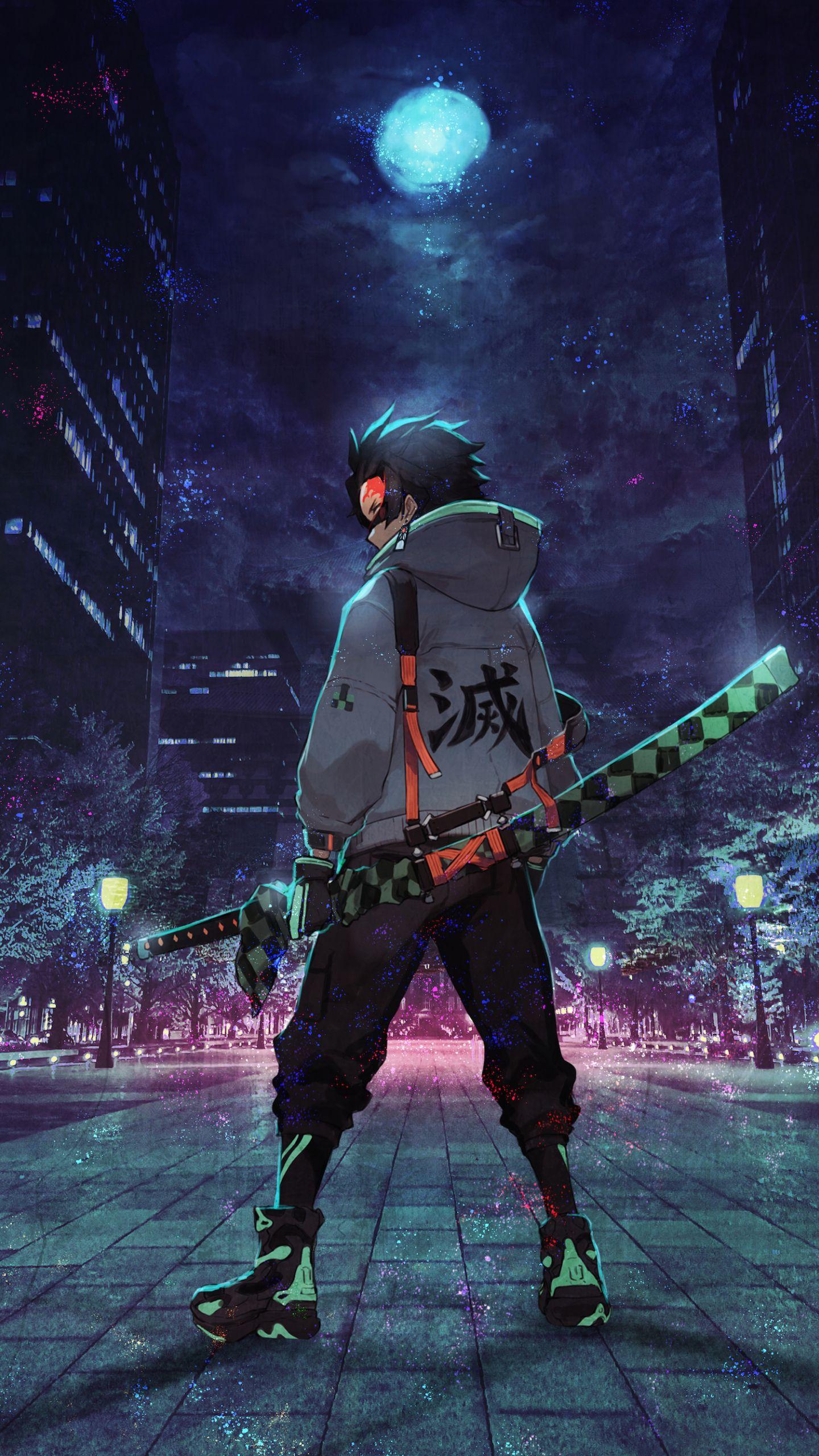 Urban ninja, anime, art, 1440x2560 wallpaper