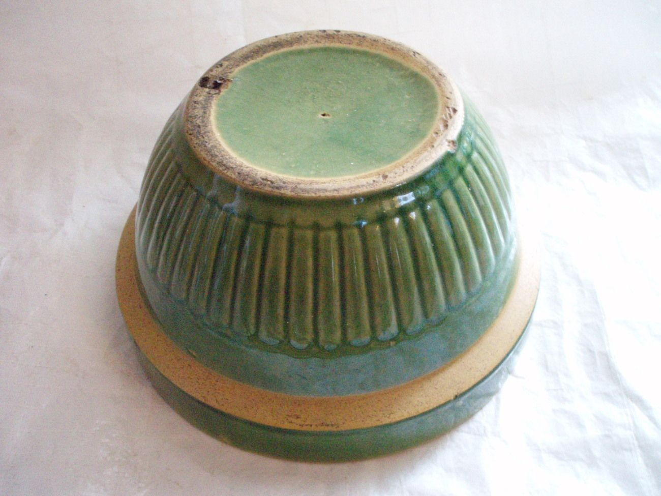 Image detail for -Green Yellow Ware mixing bowl antique ...