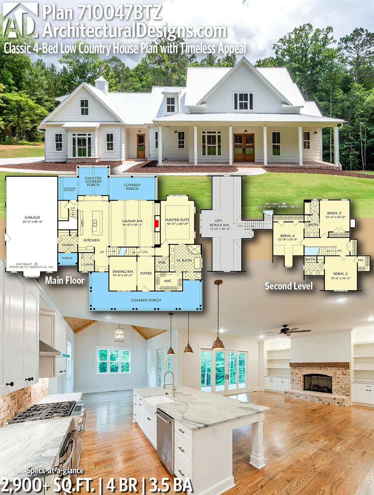 Architectural Designs Home Plan 710047btz Gives You 4 Bedrooms 3 5 Baths And 2 900 Sq Ft Ready House Plans Farmhouse Country House Plans Country House Plan