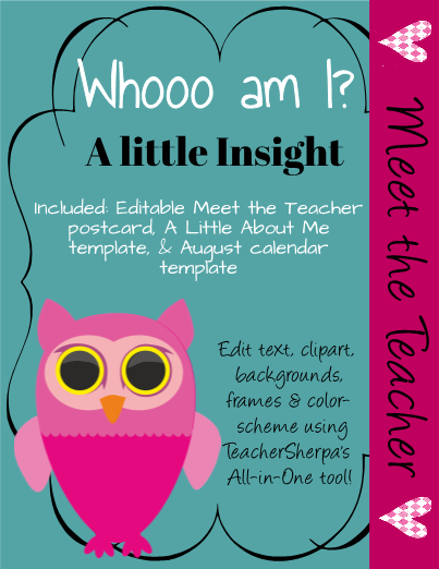 This Editable Template Includes A Meet The Teacher Postcard A