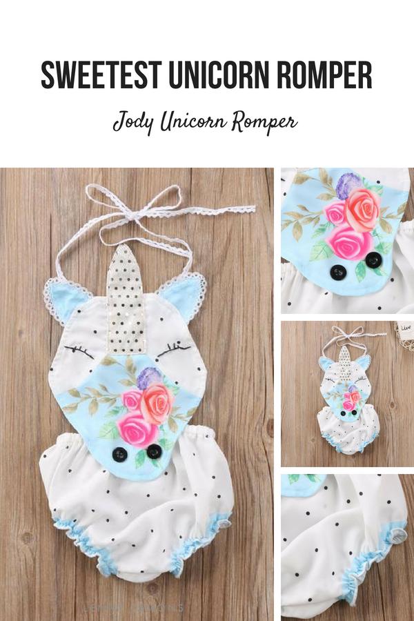 dd0d868e7 Sweetest unicorn romper. Halter style. Elastic waist & legs.Soft and  breathable. Very cute summer outfit. Lenny Lemons #unicorn #girl #babygirl  #sweet ...