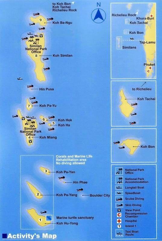 Similan Islands Dive Sites Site map Scubas and Antigua