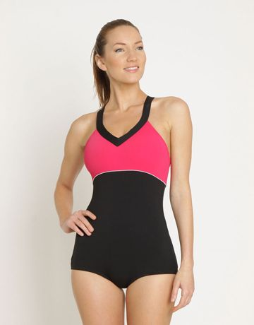 3d31e0c79b Zoggs Bondi Booty Suit X Back - Black and Pink