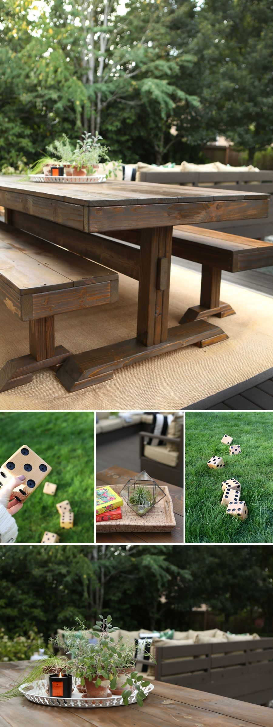 Diy pottery barn farm table outdoor backyard outdoor