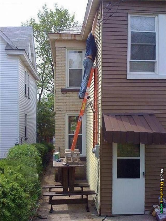 Cleaning The Gutters He Really Wants To Clean Those Gutters Or Die Trying Live Long Darwin Awards Dumb And Dumber