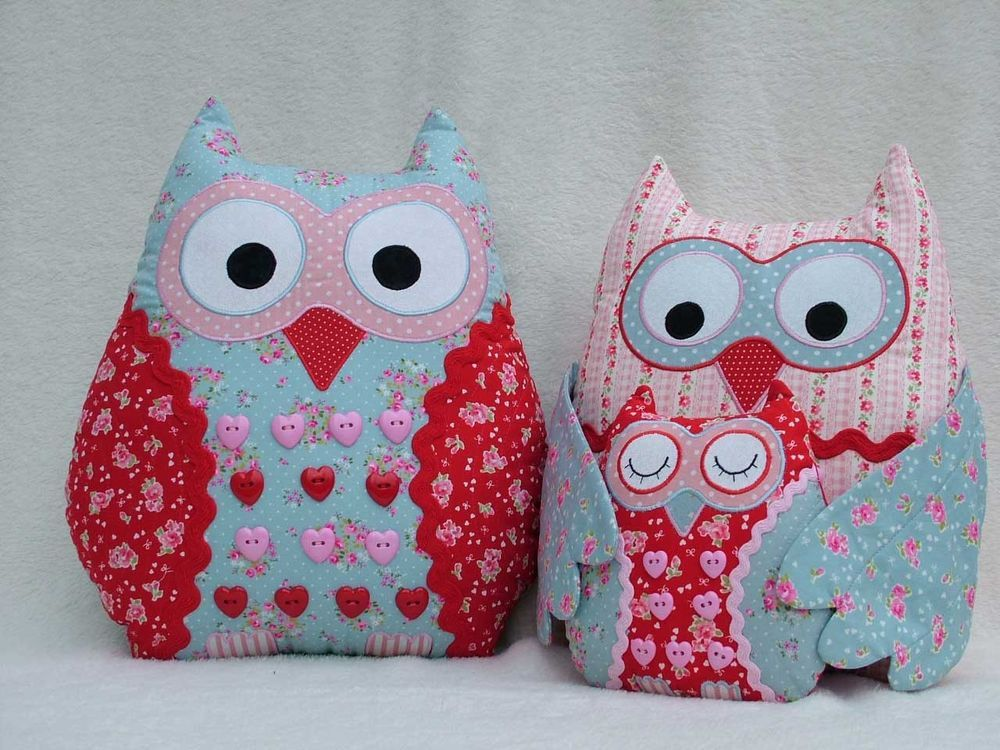 Patchwork / quilting applique owl cushions sewing pattern | Owl ...