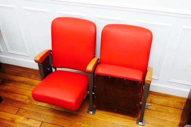 Fauteuil/siège anciens de cinéma Asseyez-vous confortablement et