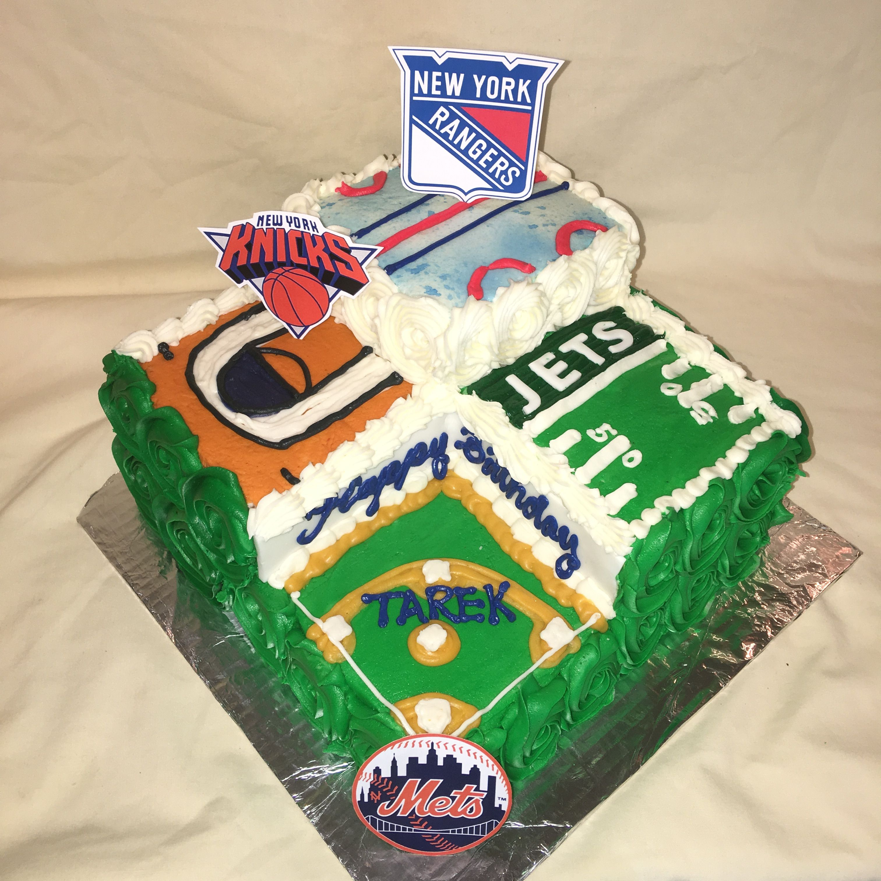 Ny Mets Jets Knicks Rangers Multi Sports Birthday Cake By Inphinity