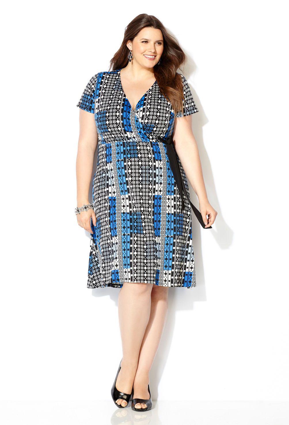 Blue Geo Surplus Wrap Dress-Plus Size Dress-Avenue | DRESSES ...