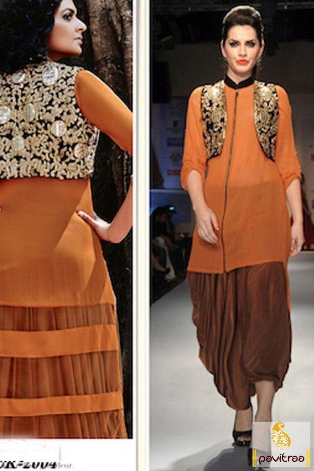 22bd346a4de Brown Orange Color Georgette Koti Style Kameez with Dhoti Salwar ...