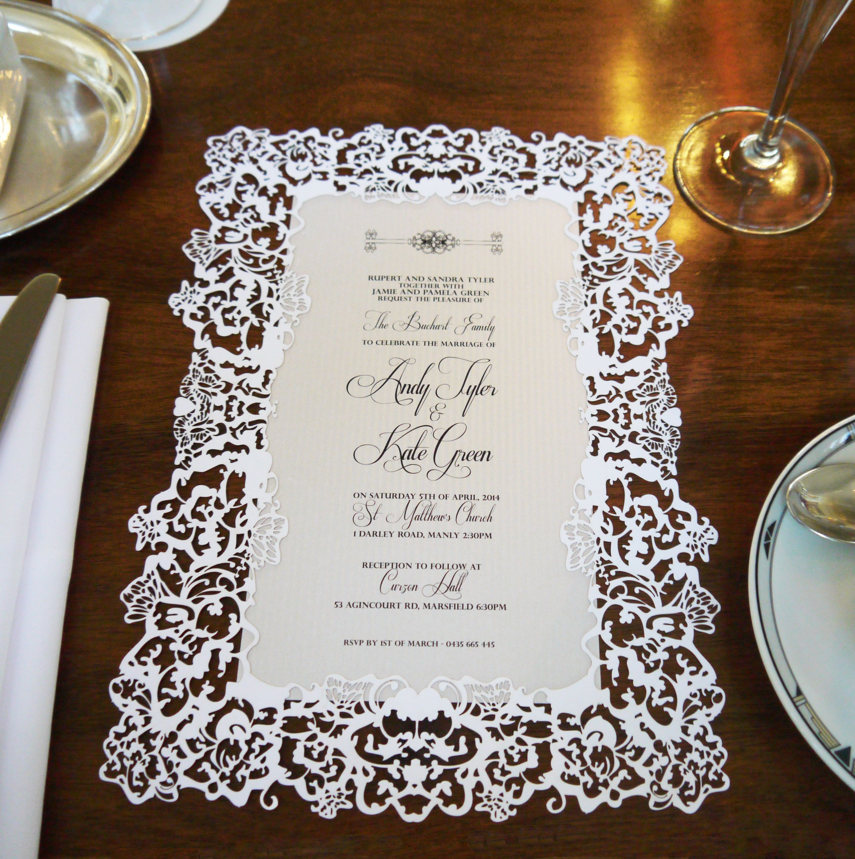 Sydney laser cut wedding invitation - Custom colours avaliable - a4 ...
