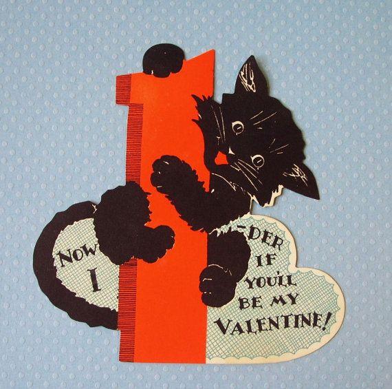 Vintage Black Cat Valentine Card Etsy Vintage Valentine Cards Valentines Cards Valentines Day Cat