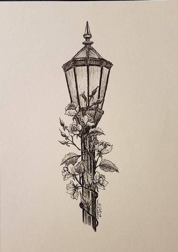 "lamp pencil sketch - Lamp post Original 5"" x 7"" Ink drawing in 2019 Products lamp pencil sketch"