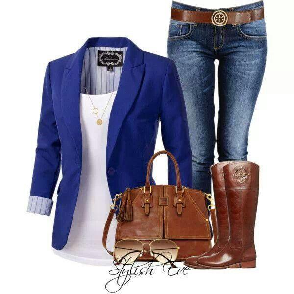 Con saco azul | Sacos de mujer | Pinterest | Blazers Clothes and Fashion