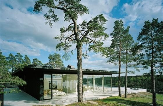 modern Swedish lake house