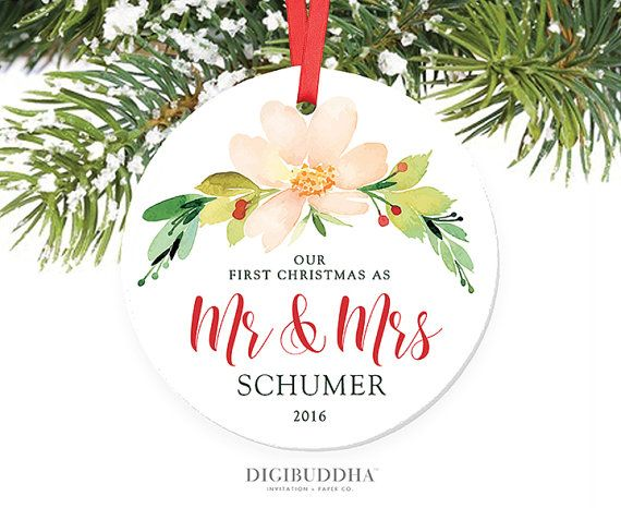 Our First Christmas as Mr and Mrs Personalized Christmas Ornament