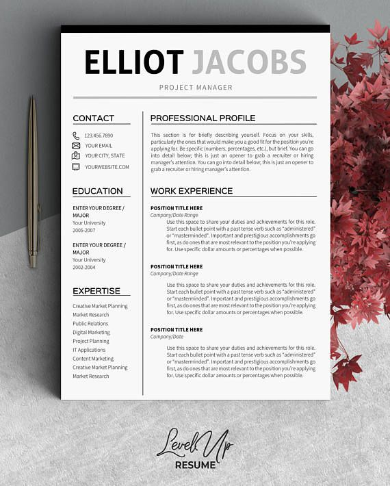 Minimalist Resume Template Instant Download Clean Resume Template