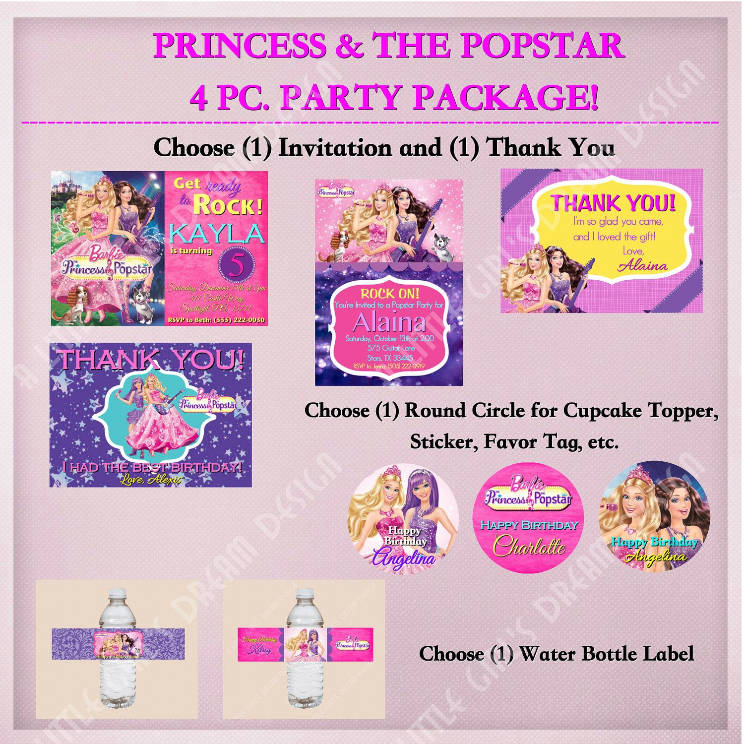 Invite ideas Barbie PRINCESS and the POPSTAR 4 piece PARTY Package ...