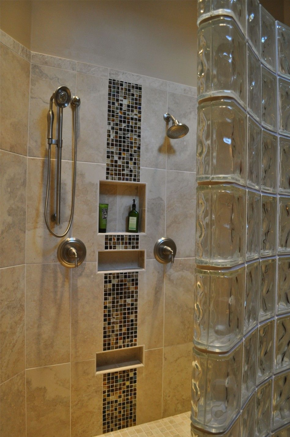 Mosaic Tile Shower Walk In And Ceramic Wall Also Hand Held Showerhead