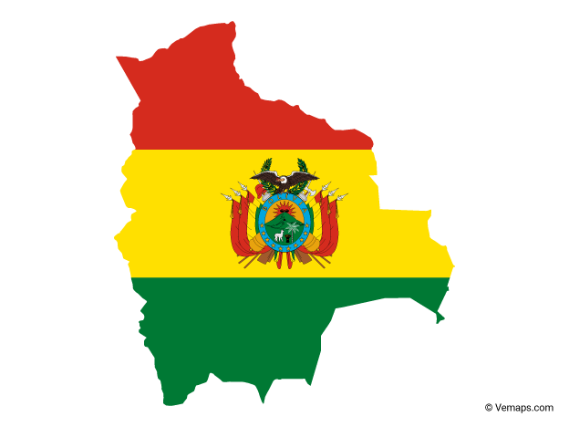 Flag Map Of Bolivia Free Vector Maps Bolivia Map Map Vector Bolivia Flag