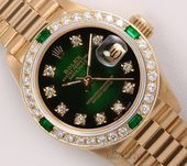 Rolex Lady President 18k Gold 26mmGreen Vignette Diamond Dial Diamond Bezel