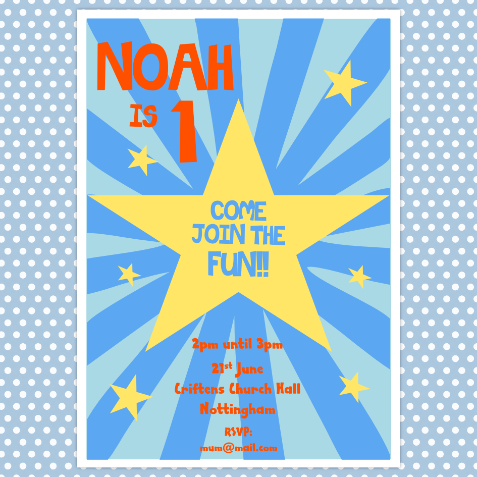 star kids birthday party invite, £1.60, #kidspartyinvite | Boys ...