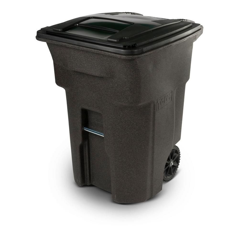 Toter 96 Gal Brownstone Trash Can With Wheels And Attached Lid