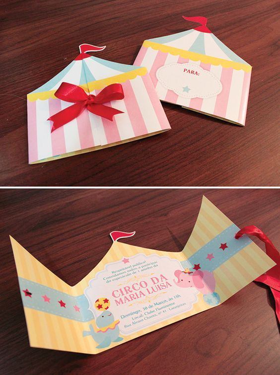 Love this Big Top Tent style party invitation: