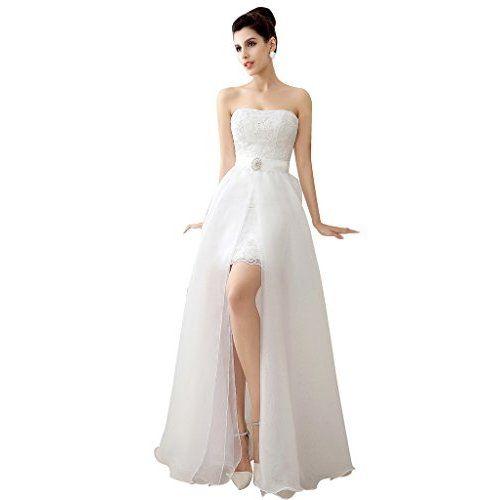 Customdress Vintage High Low Wedding Dress V Neck Capped Bridal Gown
