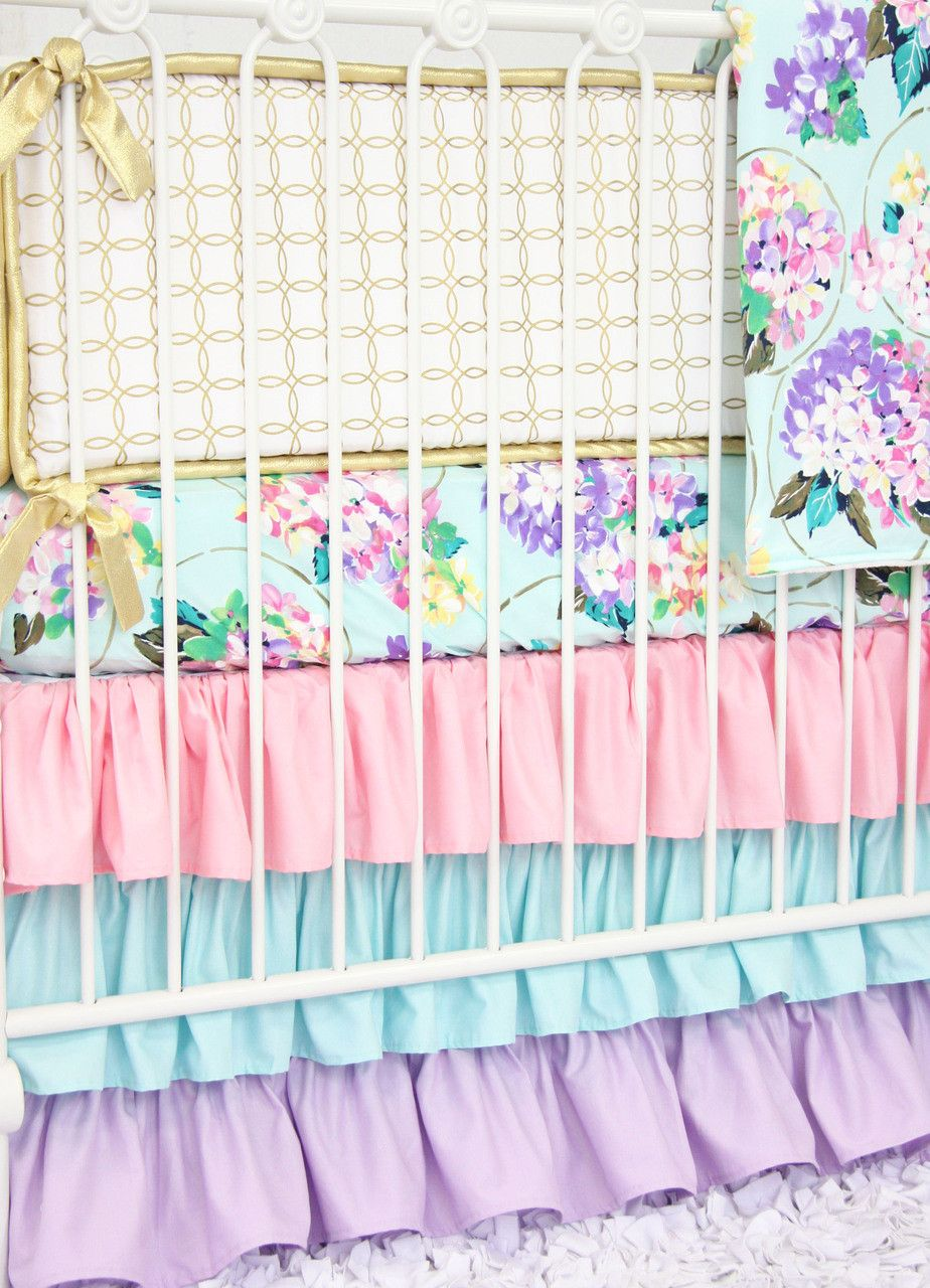 mint and gold nursery Crib rail cover, Baby bed, Lilac