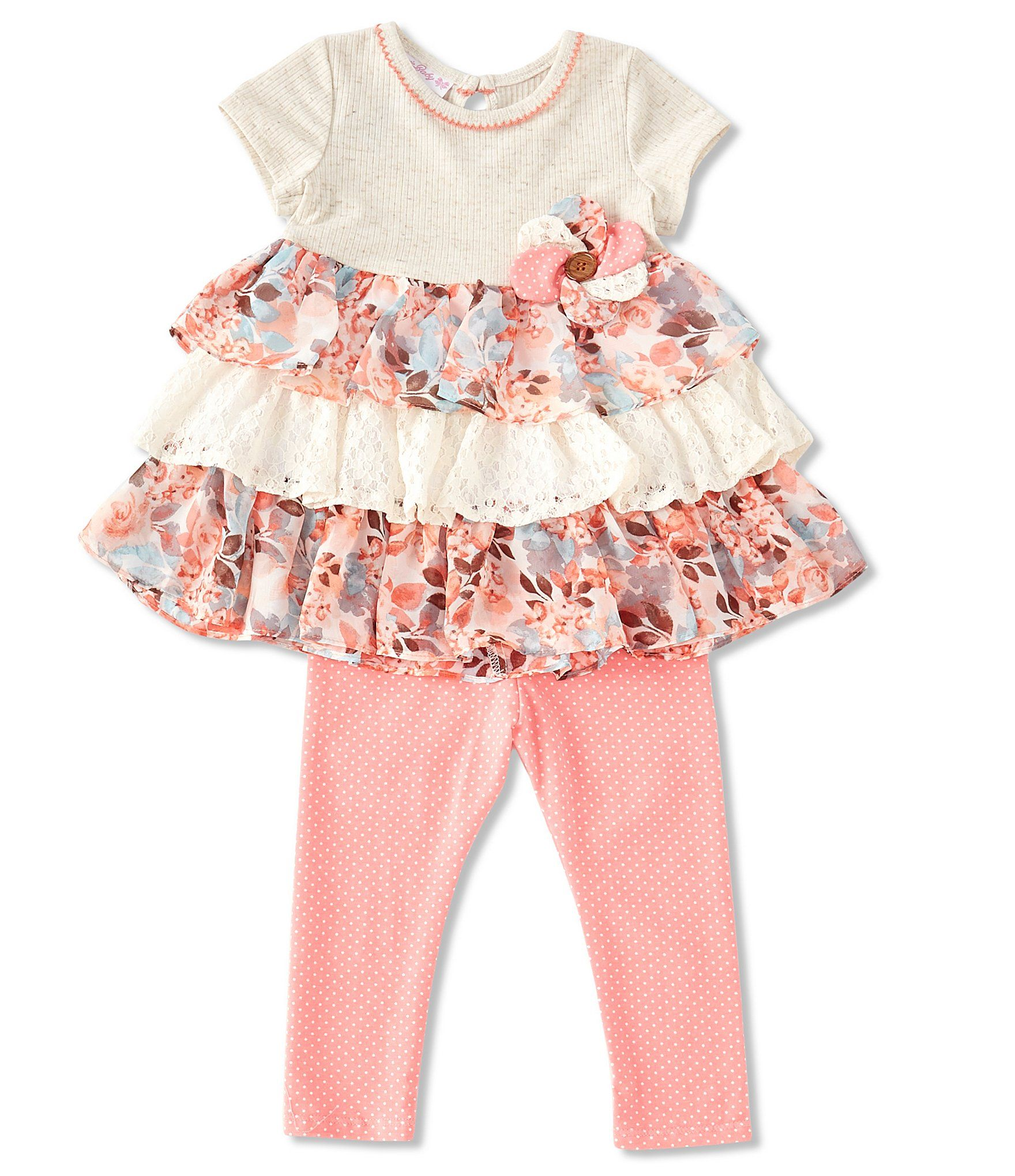 Photo of Bonnie Jean Baby Girls Newborn-24 Months Heathered-KnitChiffonLace Top  Dotted Leggings Set – Coral 6/9 Months